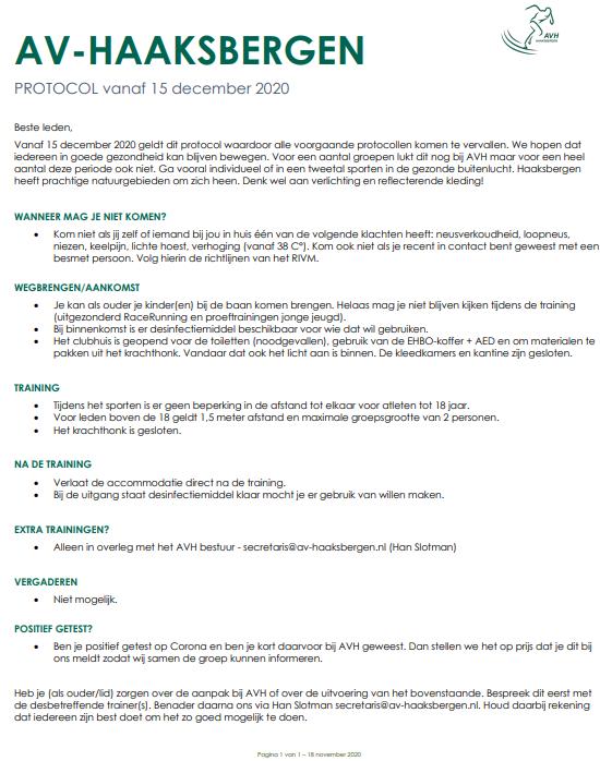 AVH Corona protocol per 15 december 2020.