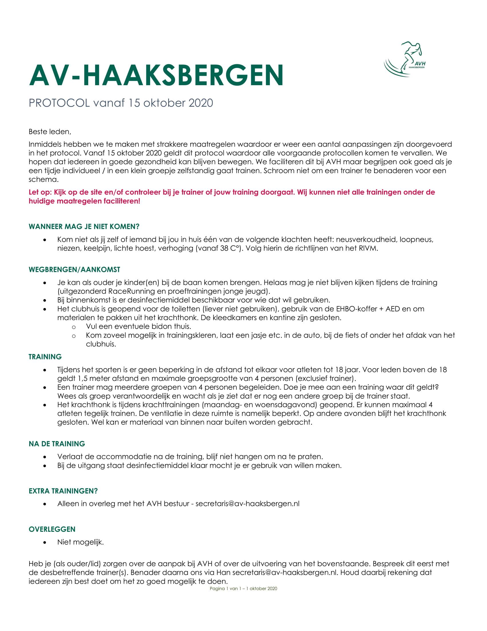 AVH Corona protocol per 15 oktober.