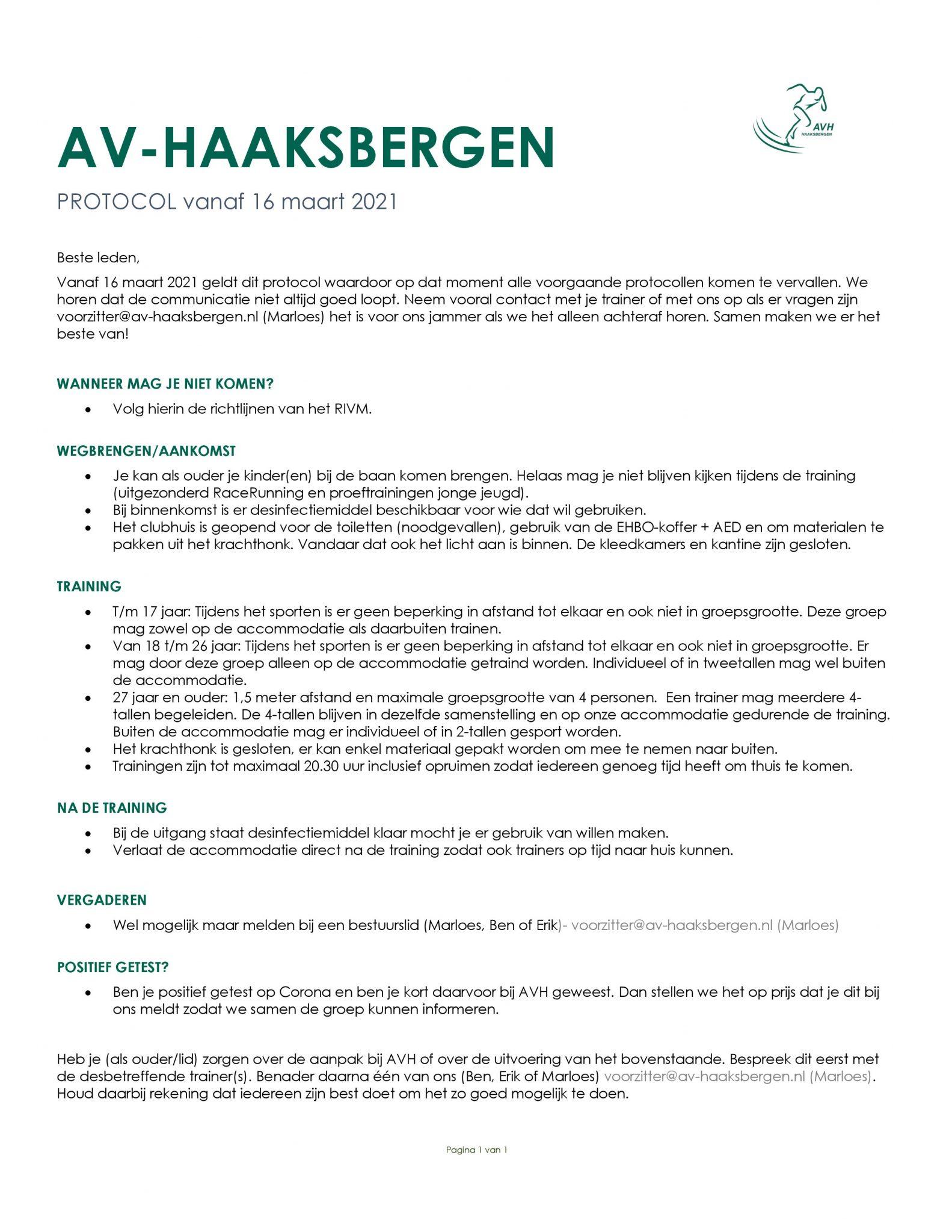 AVH Corona protocol per 16 maart 2021.