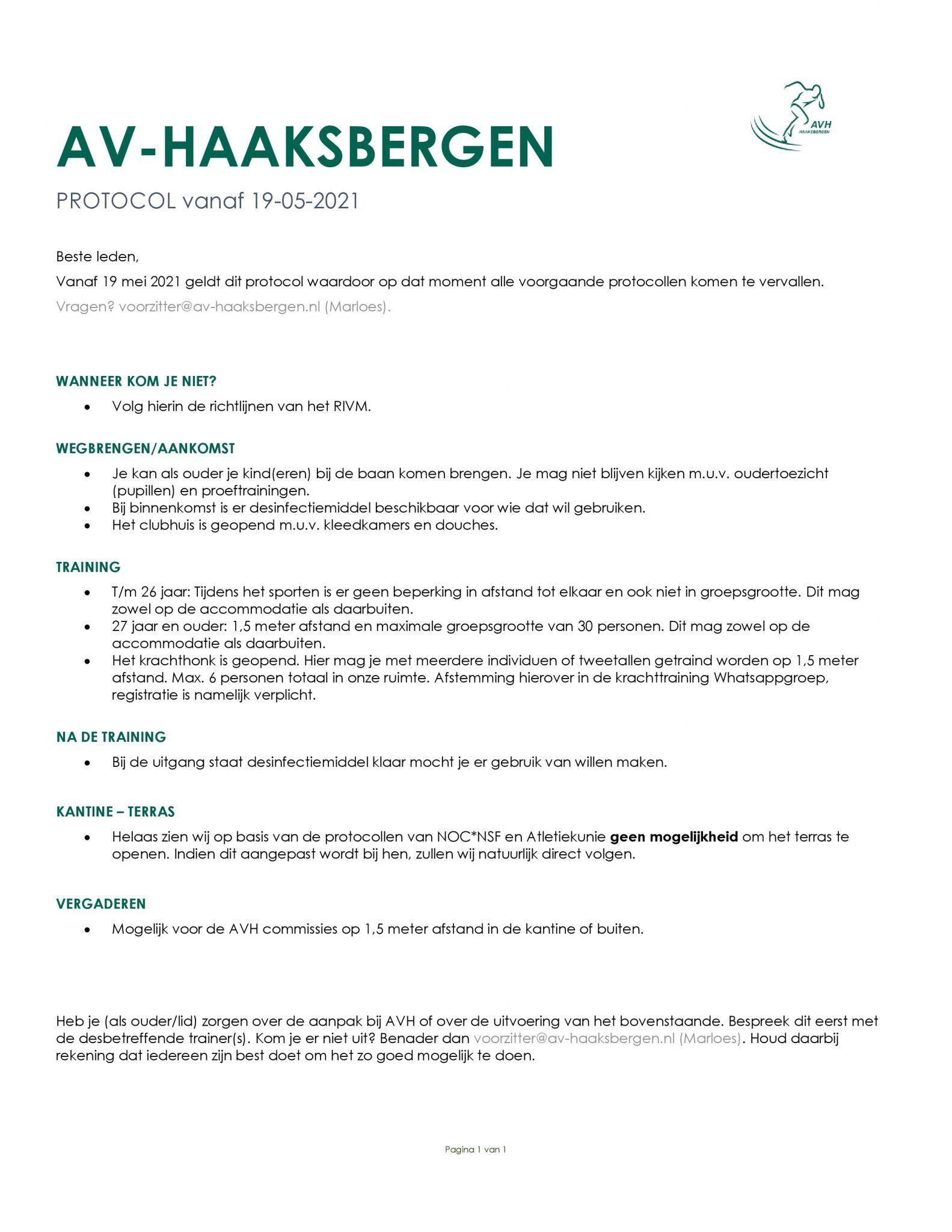 AVH Corona protocol per 19 mei 2021.