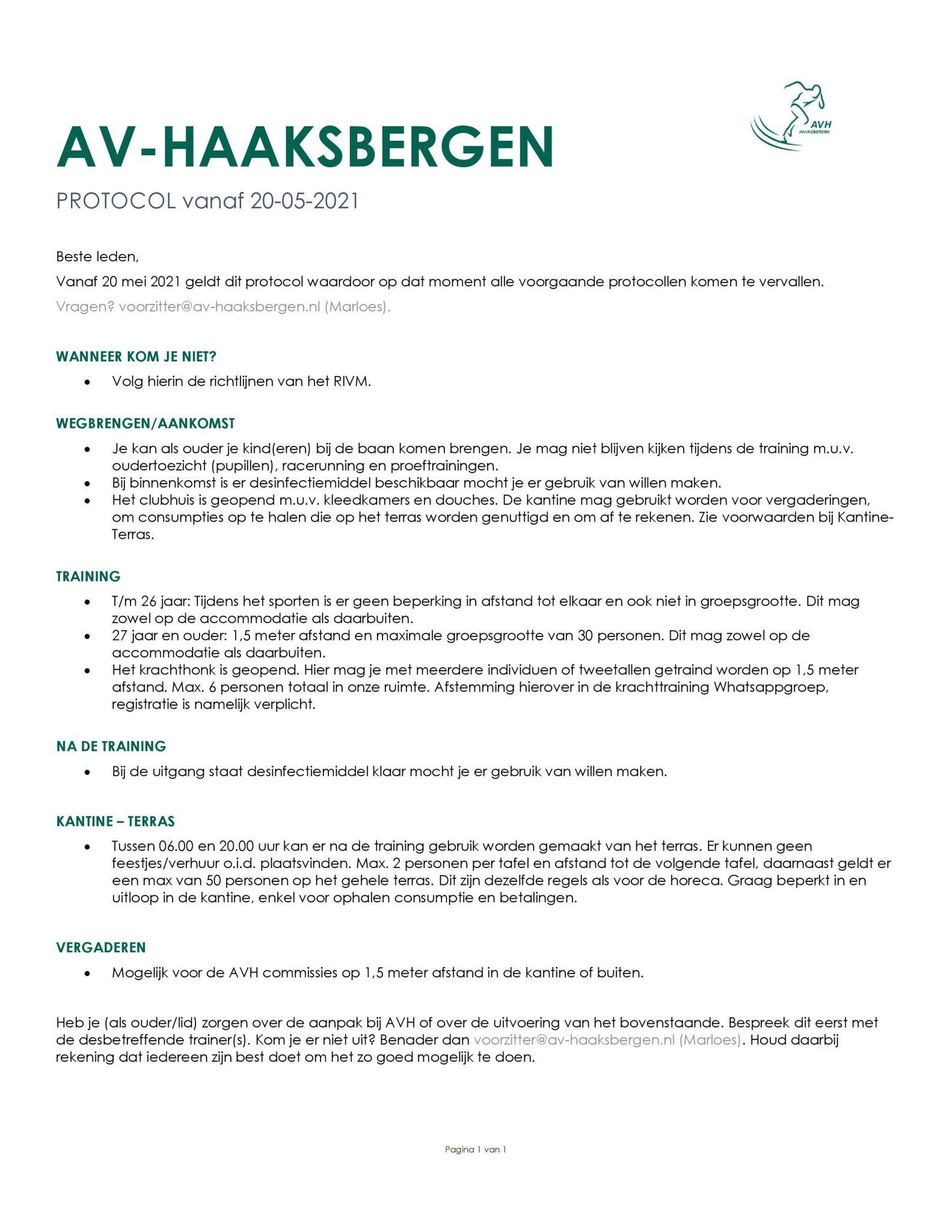 AVH Corona protocol per 20 mei 2021.