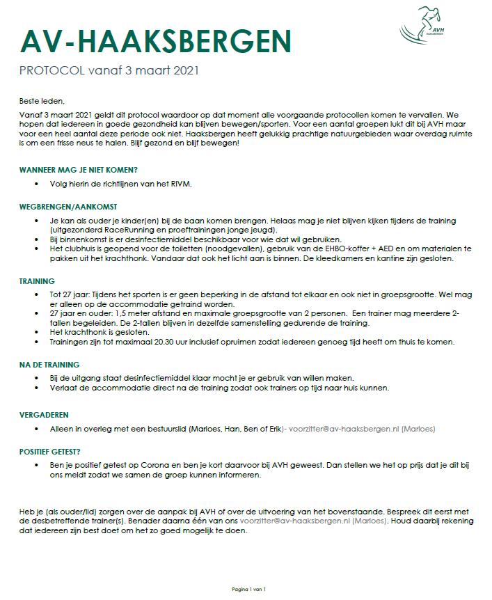 Corona protocol per 03 maart 2021.