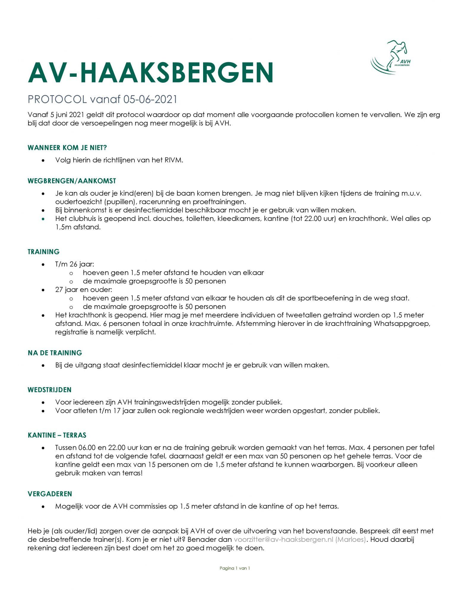 AVH Corona protocol per 5 juni 2021.