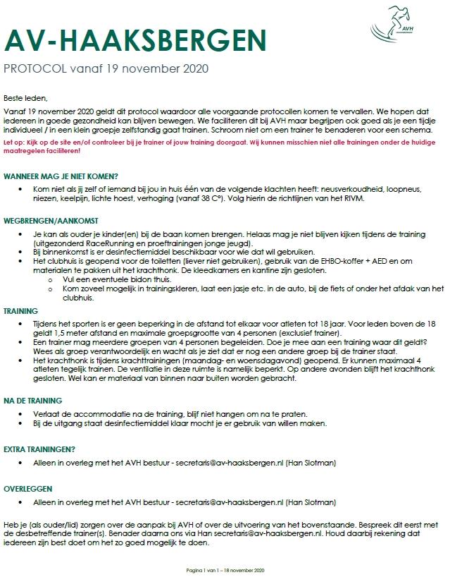 AVH Corona protocol per 19 november 2020.