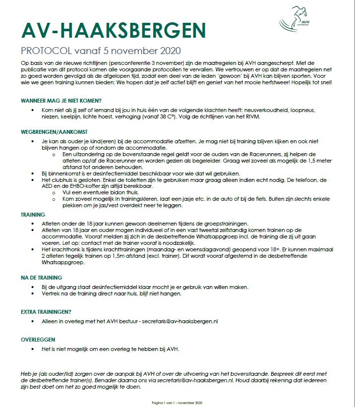 AVH Corona protocol per 05 november 2020.