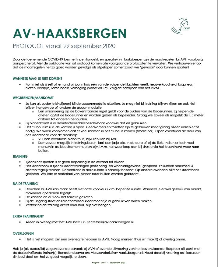 AVH Corona protocol vanaf 29 september 2020.