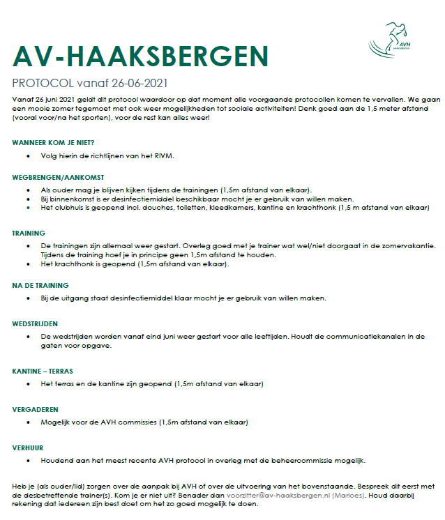 AVH Corona protocol per 26 juni 2021.